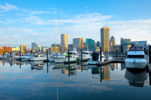 Downtown city skyline, Inner Harbor and marina, Baltimore, Maryland, USA